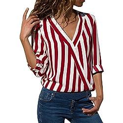 VECDY Camisa Casual De Manga Larga para Mujer Bolsillos con Cuello Abotonado Botones En La Parte Delantera Camiseta (U-Rojo, M)