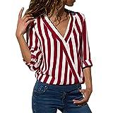 JURTEE Sommer Damen Streifen Oberteile Tiefem V-Ausschnitt Langarm Gestreift Irregulär Saum T-Shirt Bluse Tops(Large,Z-1# Rot)