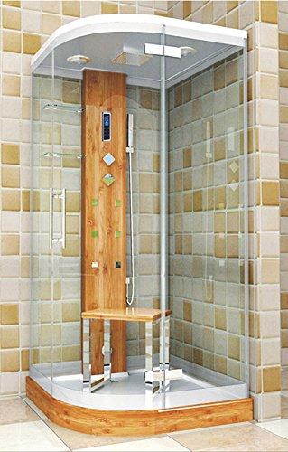 Dampfdusche Viertelkreis 100 x 100 cm, Bambus