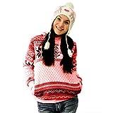 BHYDRY Frauen Weihnachten Snowflake Hoodie Sweatshirt Pullover Pullover mit Kapuze Pullover Top(M,Rosa)