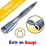 Smiley d'Or - Stylo Bille Clix Pen Avec Tampon Encreur Intégré. Ecrit en Rouge. Recharge Encre d'Écriture GRATUITE...