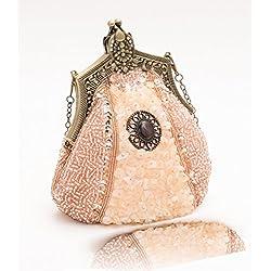 Pulama Vintage viktorianische Handtasche Luxuriöse Perlen Abend Handtasche Party Geldbörse mit 1 goldener Kette Champagner