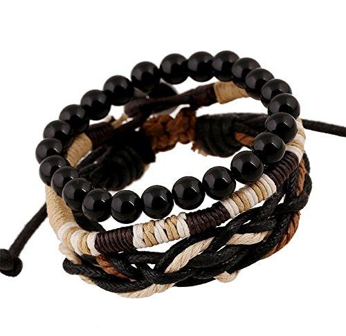 Wicemoon Retro handgefertigt Woven Leder Armband dreiteilige Woven Holz Perlen Wachs Seil geflochten Armband (Wachs Hanf)