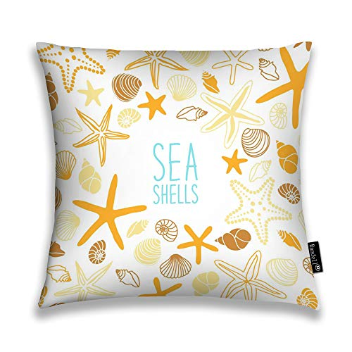 Randell Decorative Throw Pillow Case Cute Vintage Frame Shells Starfishes Written Sea Cushion Cover Square 18 X 18 Inches