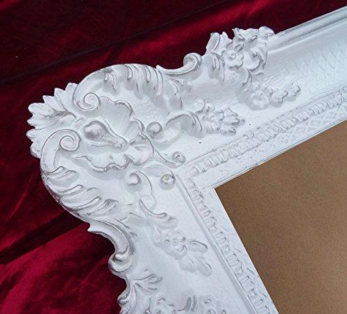 Bilderrahmen Rahmen Weiß / Silber Dualcolor 96x57 cm Hochzeitsrahmen Fotorahmen Antik Barock Rokoko...