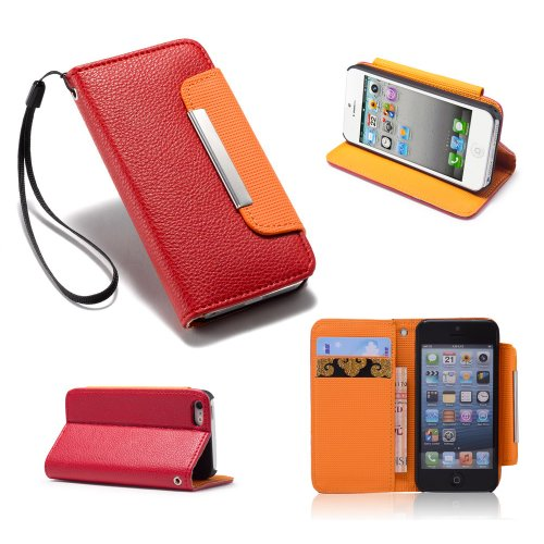 32nd® Étui portefeuille en cuir synthetique avec Stand pour Apple iPhone 5/5S, avec film protecteur d'écran, chiffon de nettoyage et stylet �?Rouge - Stand book - Red