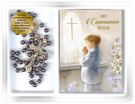 Geschenk zur Ersten Heiligen Kommunion für Jungen, Rosenkranz mit Perleffekt und kleines Kommunionbuch (Kommunion Für Geschenke Jungen-erste)