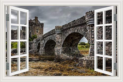 antico castello europeo carta da parati 3d finta finestra scenario adesivo murale decalcomania soggiorno camera da letto complementi arredo casa poster 40 * 60 cm