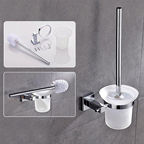 2 anni di garanzia Auralum® Scopino porta scopino cromo stare Klobürstenhalter pennello vetro Stand WC montaggio a parete