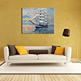 "Docooler DIY Unframed Digital Oil Painting by Numbers Hand Painted Paint by Number 16 * 20"" Sailing Ship Pattern On Cotton Cloth Print Home Decoration Craft Decoration"