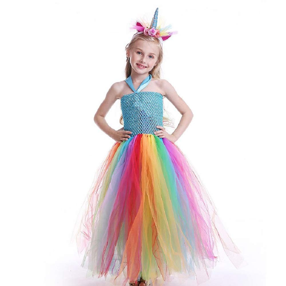 c38614a3 THE LONDON STORE Kids Halloween Rainbow Unicorn Tutu Dress Baby Girls  Summer Cute Pony Children Cosplay Birthday Party Dresses with Head-Bow from  London