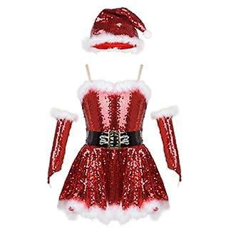 TiaoBug Disfraz de Papa Noel Santa para Niñas Infántil Vestido Rojo Lentejuelas Princesa Fiesta Costume Conjunto de Navidad Día Christmas Niños