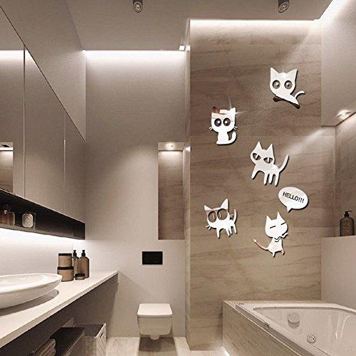 Preisvergleich Produktbild S.Twl.E Spiegel aus Acryl Cartoon Cat'S Kinderzimmer Dekoration Wand Aufkleber Silber