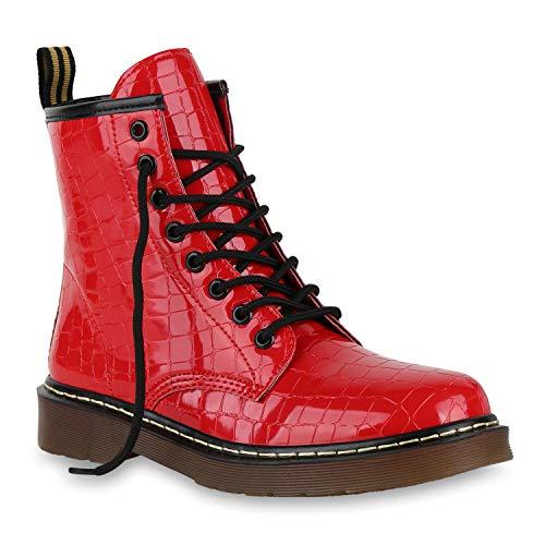 Stiefelparadies Damen Stiefeletten Worker Boots Profilsohle Stiefel Outdoor Schuhe 175416 Rot Kroko 36 Outdoor Damen Stiefel