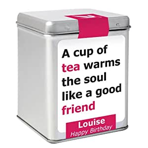 Boîte avec étiquette à message A cup of tea warms the soul like a good friend, personnalisable, Sachets de thé inclus