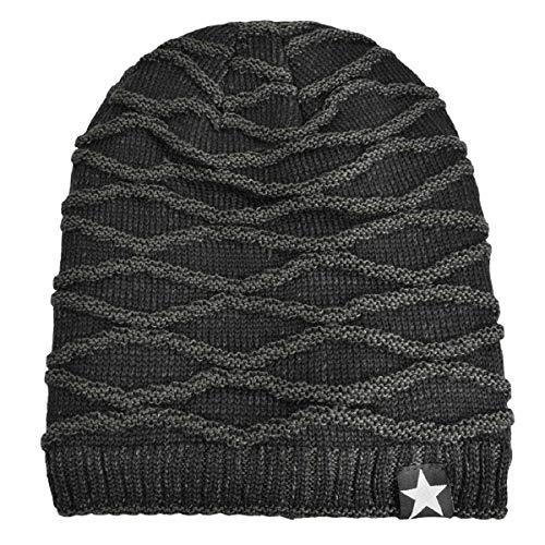 Imagen de hombres cozy invierno  de punto tartán beanie universal cálido de punto de esquí beanie hat cráneo slouchy  sombrero negro  alternativa