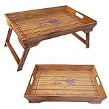 LS-LebenStil LS Design Holz Betttablett Tablett Knietablett Frühstückstablett klappbar 48x32x25cm Braun Vintage