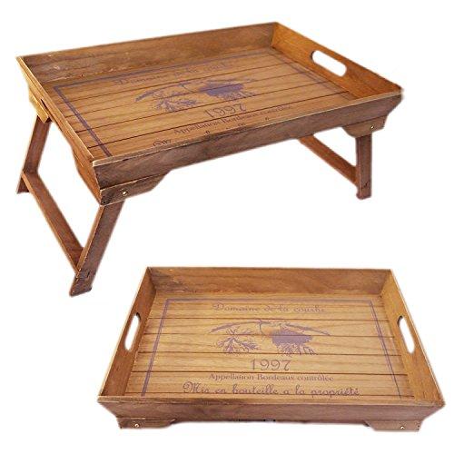 LS Design Holz Betttablett Tablett Knietablett Frühstückstablett klappbar 48x32x25cm Braun Vintage LS-LebenStil