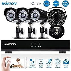 Kit Seguridad CCTV 4CH Full AHD 1080N/720P DVR HDMI + 4x 1500TVL Cámara Bala P2P Onvif IR-CUT Visión Nocturna IP66 Android/iOS APP Alarma Email