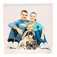 stika.co Personalised Acrylic Photo Block, on 2cm thick Solid Acrylic, Office Paperweight Photo Block, Ideal Birthday Square Photo Block (4x4)