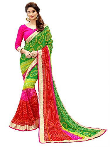 Glory Sarees Saree with Blouse Piece (vn04A_Red and Green_Free Size)