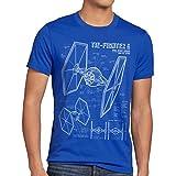 A.N.T. TIE Jäger Herren T-Shirt blaupause fighter , Größe:MFarbe:Blau