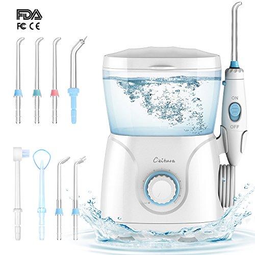 Idropulsore Dentale CEITURA Irrigatore 600 ml Orale Elettrico Professionale con 8 Beccucci Multifunzione, 10 Impostazioni per la Pressione dell'Acqua, Approvato dalla FDA, Usato per la Casa e i Viaggi