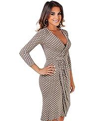 KRISP® Femmes Robe Portefeuille A Pois Classique Elégante Drapée