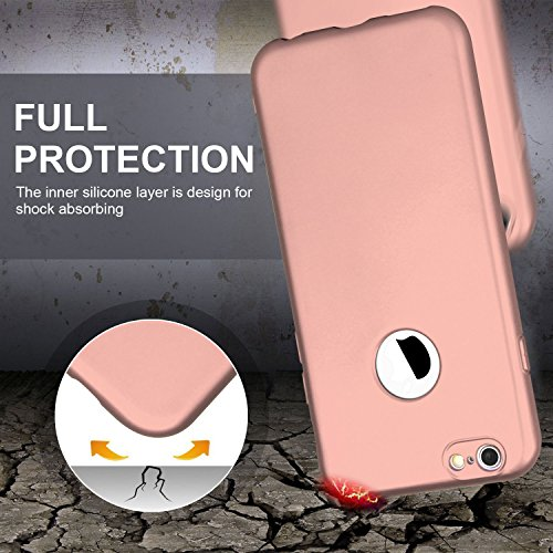 iPhone 6 Hülle, iPhone 6S Hülle, Imikoko 360 ° Komplettschutz Weiche Soft TPU Silikon Full Body Vorne Hinten Ultra Dünn Protector Back Cover Schutz Case Tasche für Apple iPhone 6 6S (Rosegold) Rosegold