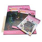 SIPLIV arcobaleno kit art scratch per bambini, 3 stilo in legno + 3 notepad carta graffiata (32 fogli) regalo perfetto per ragazze o ragazzi, attività di viaggio per aereo o auto - rosa