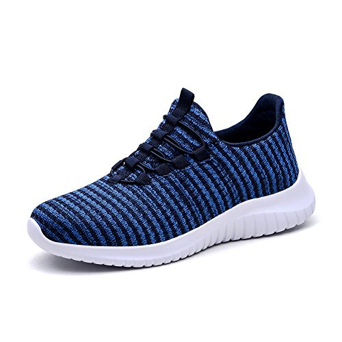 TIOSEBON Women's Lightweight Casual Walking Athletic Shoes Breathable Flyknit Running Slip-on Sneakers 10 US Blue