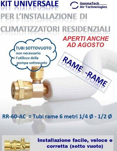 KIT PER INSTALLAZIONE CLIMATIZZATORI/CONDIZIONATORI -Tubi rame 6 metri 1/4 Ø - 1/2 Ø