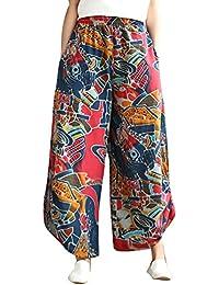 MISSMAOM Pantalones de Estilo Hippie de Mujer de Vendimia del Estilo  Nacional Pantalones Holgados Bombachos Ocasionales c73f9b202e76