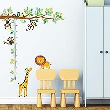 Decowall DW-1402 Albero con Scimmiette e Tabella di Altezza con Animali Adesivi da Parete Decorazioni Parete Stickers Murali
