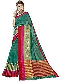 Sari Festival de tejidos sintéticos verdes indios de Triveni