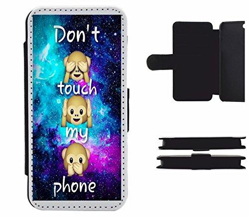 Druckerlebnis24 Leder Flip Case Apple iPhone 4/ 4S Dont Touch My Phone DREI Affen Sehen Hören Sagen, der wohl schönste Smartphone Schutz Aller Zeiten. (4s Iphone Affe)
