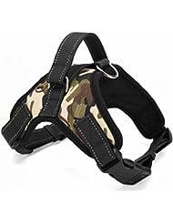 Motionjoy Nueva Suave Cómoda Acolchada Ajustable Mascota Pecho del Arnés del Chaleco para Mediano y Gran Tamaño Perro Formación o Caminar (Camo, M)
