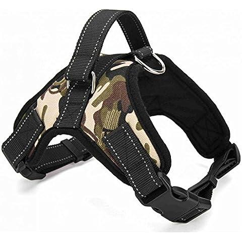Motionjoy Nueva Suave Cómoda Acolchada Ajustable Mascota Pecho del Arnés del Chaleco para Mediano y Gran Tamaño Perro Formación o Caminar (Camo,
