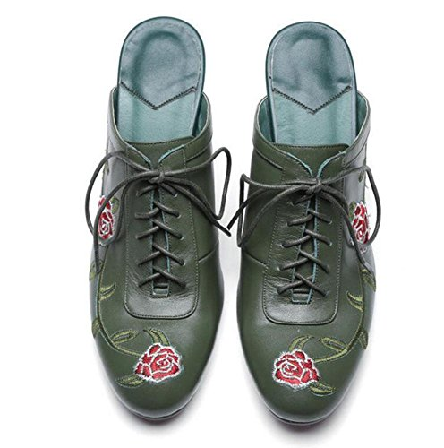 GLTER Damen Low Heel Sandalen Maultiere Schuhe Rindsleder Baotou Halbe Hausschuhe National Wind Stickerei Blumen Fine High Lace Leder Schuhe Casual Schuhe Slip-On Hausschuhe Dark Green Pink Dark Green