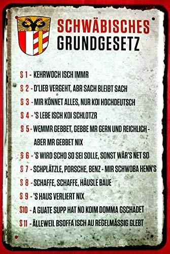 Tin Sign Blechschild 20x30 cm Schwäbisches Grundgesetz Haus deutsch Porsche Mercedes Spätzle Fun Spruch Bar Schild