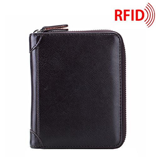 4cb01e1c9b34 MuLier RFID Blocking Primely Genuine Leather Soft Leather Case Wallet  Zipper Security Card Holder Case Inside 40 Card Slots Coffee
