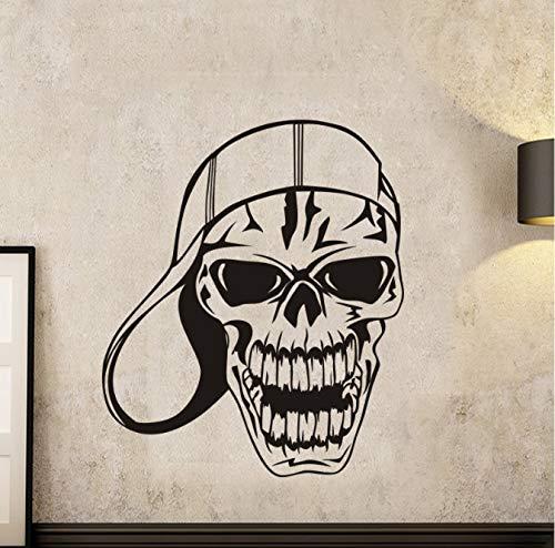 HLZLA Schädel Halloween Baseball Cap Aufkleber Punk Death Decal Teufel Auto Kunst Wandtattoos Dekor Wandbild 40x47cm