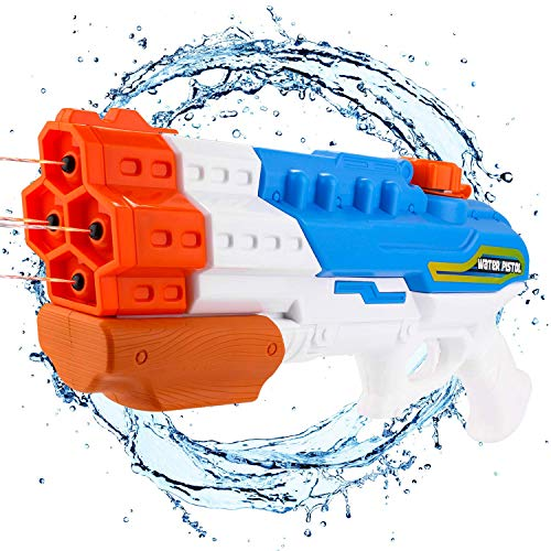 B-Creative Water Gun Soaker 4 Nozzles Water Pistol High Capacity 1200CC Squirt Gun 30ft Water Pistol Water Fight Summer Toys Outdoor Swimming Pool Beach Water Toys for Kid&Adult