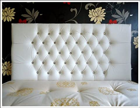 Luxury Designer Faux Leather Crystal Diamante 3Ft/4Ft6/5Ft/6Ft Double Bed Kingsize Standard Size Headboard (White, 5Ft Crystal