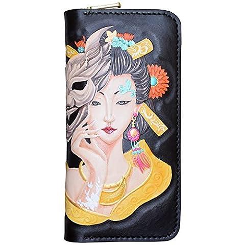 OLG.YAT® Pflanzlich gegerbtes Leder Geldbörse Portemonnaie Börse Brieftasche Handgefertigt Retro 20.5*10.5*4cm OLG-WLSNT