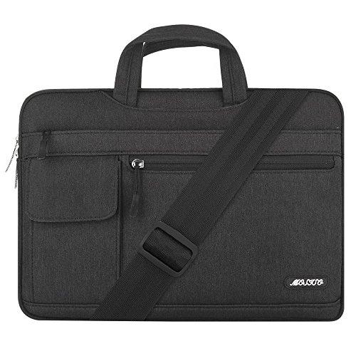 MOSISO Laptoptasche Kompatibel 15-15,6 Zoll MacBook Pro, Ultrabook Netbook Tablet, Polyester Flapover Art Laptoptasche Sleeve Hülle Umhängetasche mit Griff & Schultergurt, Schwarz