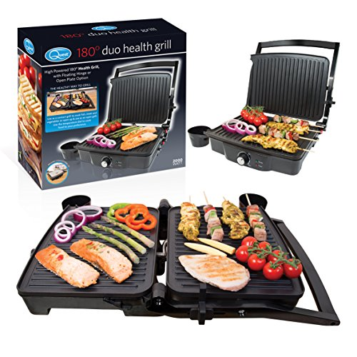 Quest 34350 Twin Duo 180° Panini Press and Flat Grill, Stainless Steel, 2000W