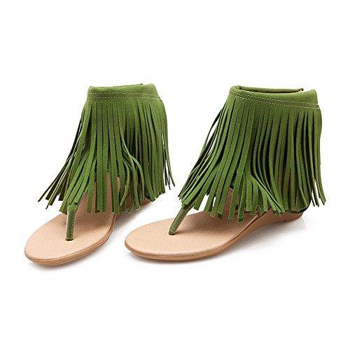 AllhqFashion Damen Nubukleder Reißverschluss Mittler Absatz Zehentrenner Sandalen Grün
