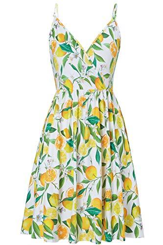 Damen Sommerkleider Vintage Blumen Maxi Kleid Ärmellos Abendkleid Strandkleid Party Chiffon Zitrone Muster Midi Kleid Swing Kleid Maxikleid L