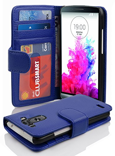 Preisvergleich Produktbild Cadorabo Hülle für LG G3 Hülle in NEPTUN blau Handyhülle mit 3 Kartenfächern Case Cover Schutzhülle Etui Tasche Book Klapp Style Neptun-Blau